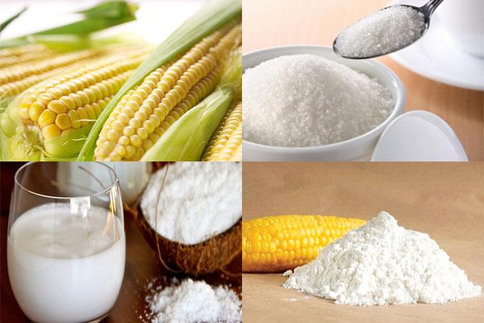 Các nguyên liệu món chè bắp